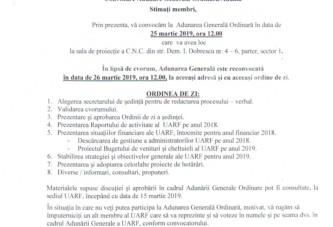 Adunare Generala  a U.A.R.F. 26 MARTIE 2019 ORA 12.00